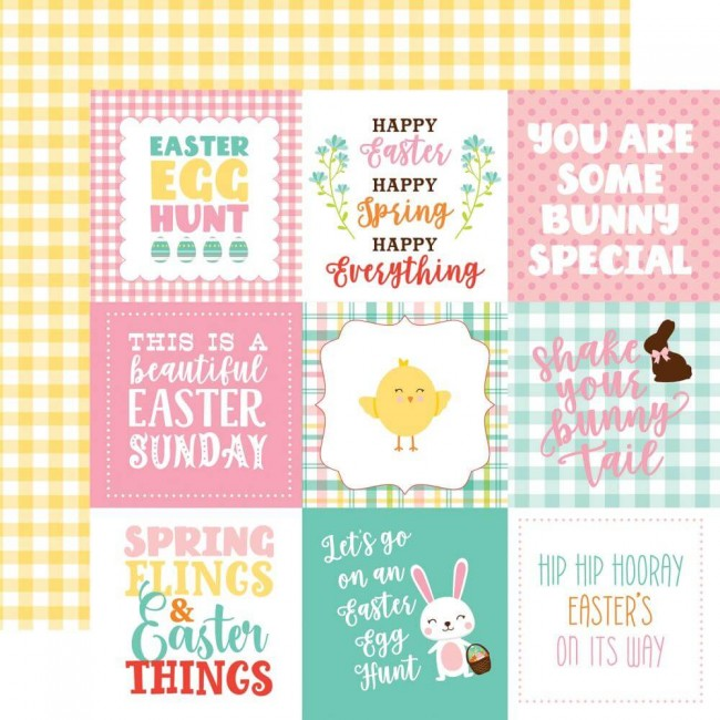 "Papel Estampado Doble Cara 12x12 Easter Wishes 4""X4"" Journaling Cards"