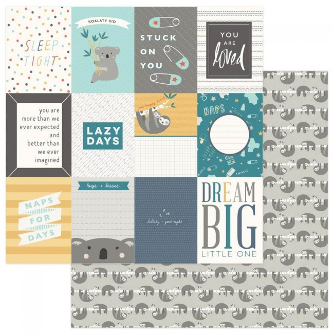 Papel Estampado Doble Cara 12x12 Snuggle Up Boy Dream Big 3x4 Cards