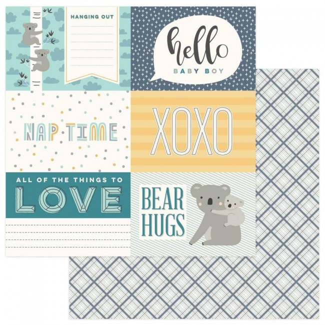 Papel Estampado Doble Cara 12x12 Snuggle Up Boy Hello Baby