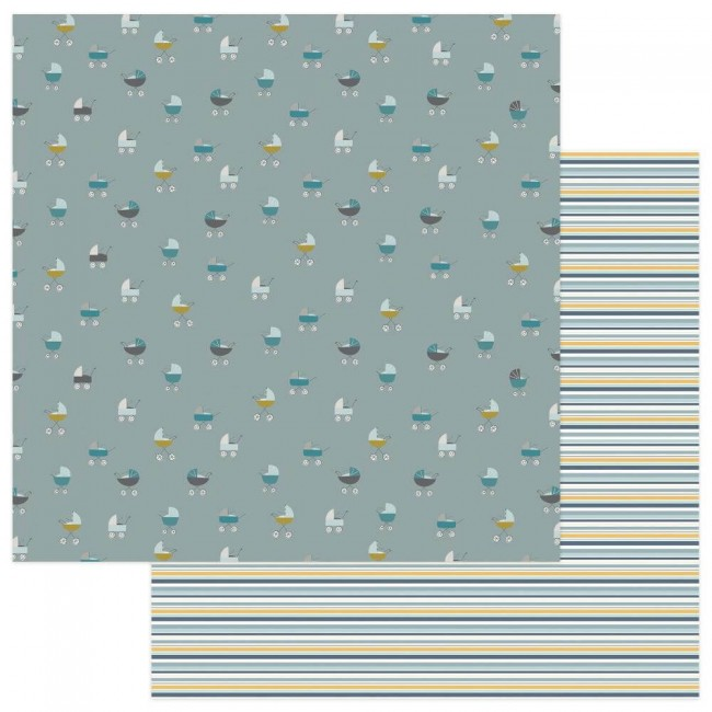 Papel Estampado Doble Cara 12x12 Snuggle Up Boy Around Town