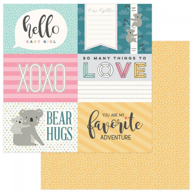 Papel Estampado Doble Cara 12x12 Snuggle Up Girl Hello Baby 4x6 Cards