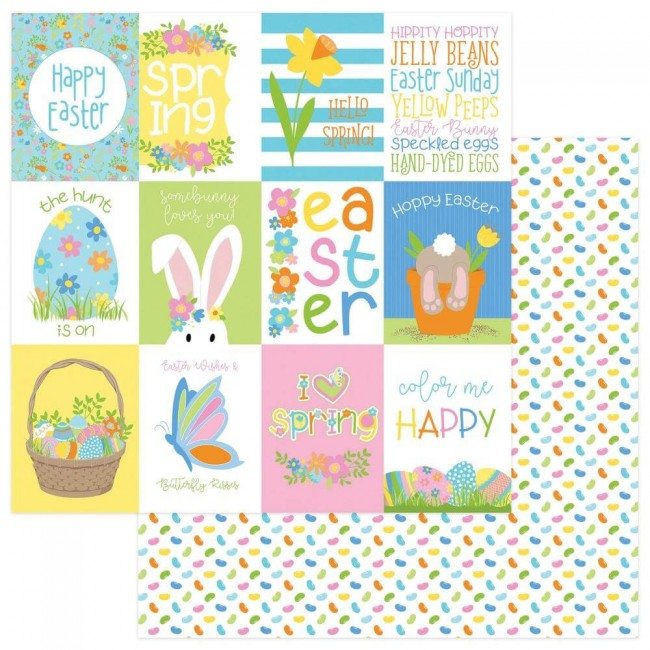 Papel Estampado Doble Cara 12x12 Bunny Trail Hoppy Easter