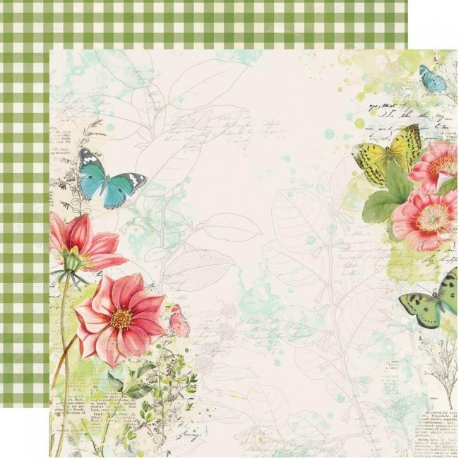 Papel Estampado Doble Cara 12x12 Simple Vintage Botanicals Embrace Life