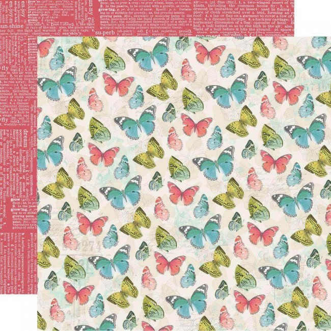 Papel Estampado Doble Cara 12x12 Simple Vintage Botanicals Hello Happy
