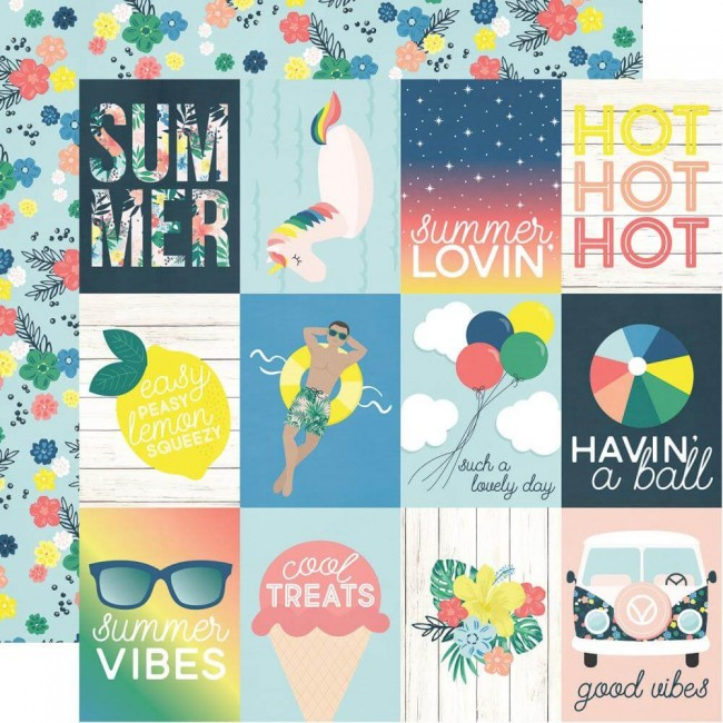 "Papel Estampado Doble Cara 12x12 Sunshine & Blue Skies 3""X4"" Elements"