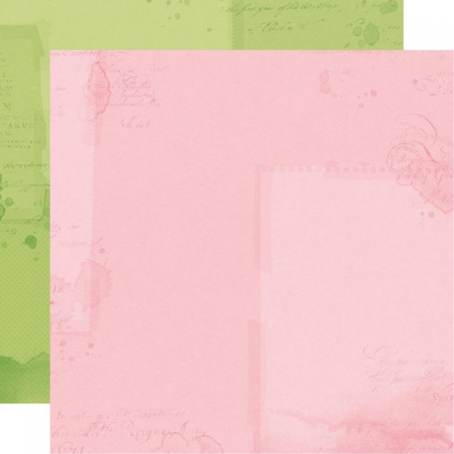 Papel Estampado Doble Cara 12x12 Simple Vintage Botanicals Green/Pink Simple Basic