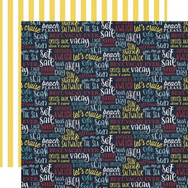 Papel Estampado Doble Cara 12x12 Cruisin Ahoy