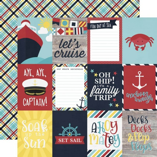 "Papel Estampado Doble Cara 12x12 Cruisin 3""X4"" Elements"