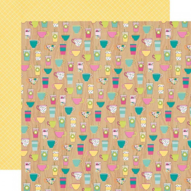 Papel Estampado Doble Cara 12x12 Oh Happy Day Coffee O'clock