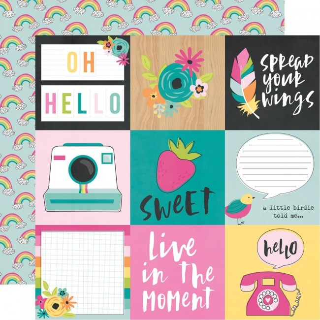 "Papel Estampado Doble Cara 12x12 Oh Happy Day 4""X4"" Elements"