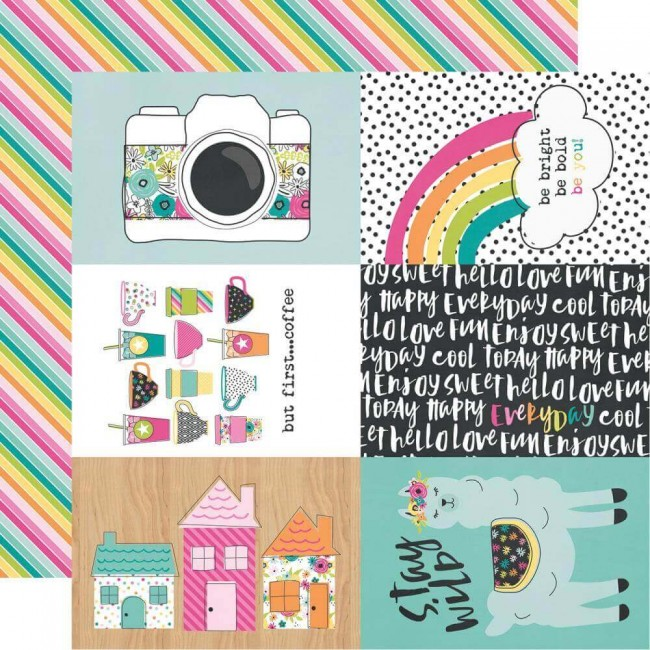 "Papel Estampado Doble Cara 12x12 Oh Happy Day 4""X6"" Elements"