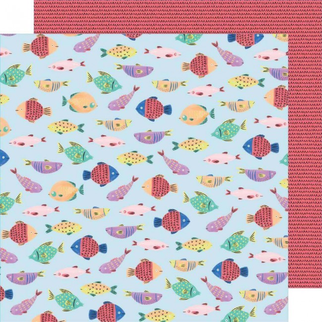 Papel Estampado Doble Cara 12x12 Stay Sweet Fish Fun