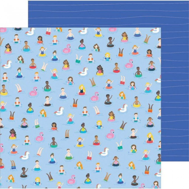 Papel Estampado Doble Cara 12x12 Oh Summertime Taking A Dip