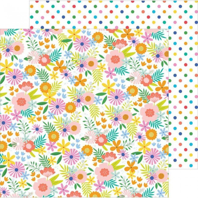 Papel Estampado Doble Cara 12x12 Oh Summertime Summer Bouquet