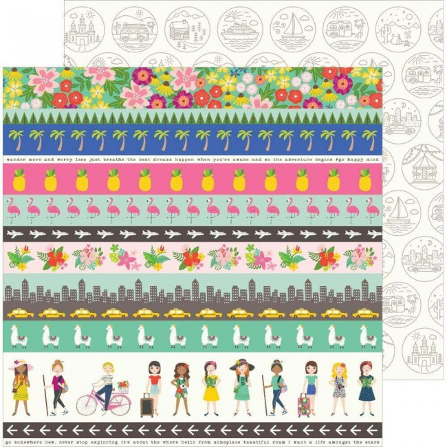 Papel Estampado Doble Cara 12x12 Chasing Adventures Adventure Strips