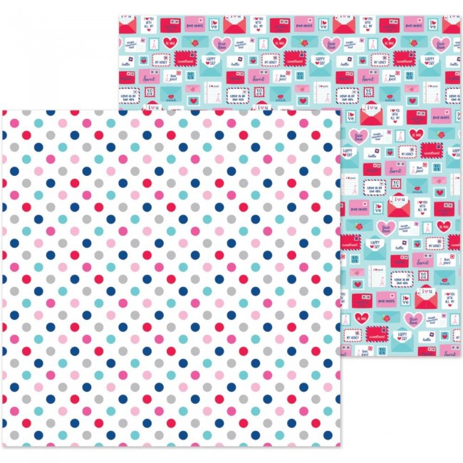 Papel Estampado Doble Cara 12x12 French Kiss Love You Dots