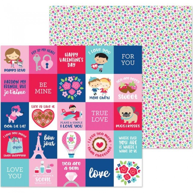 Papel Estampado Doble Cara 12x12 French Kiss Petite Fleur