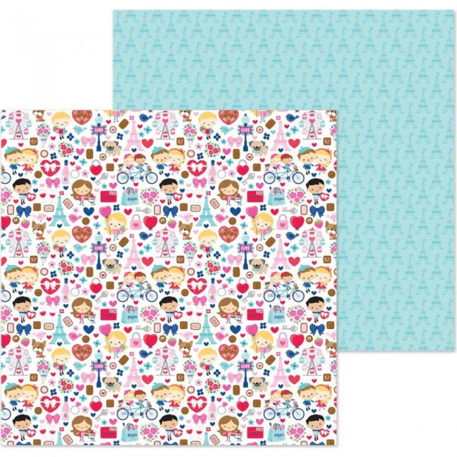 Papel Estampado Doble Cara 12x12 French Kiss French Kiss