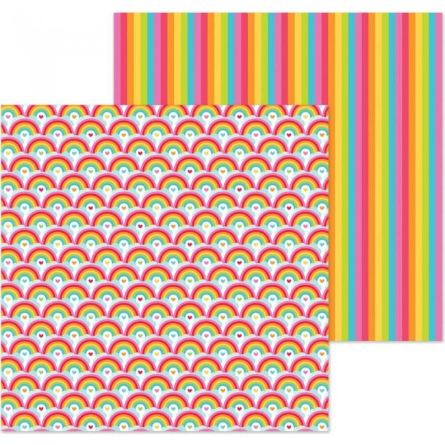 Papel Estampado Doble Cara 12x12 Lots O'Luck Rainbows
