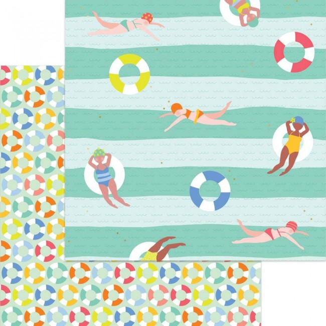 Papel Estampado Doble Cara 12x12 Tutti Frutti Swim Time