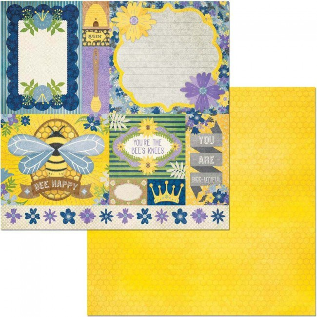 Papel Estampado Doble Cara 12x12 Bee-utiful Bees Knees