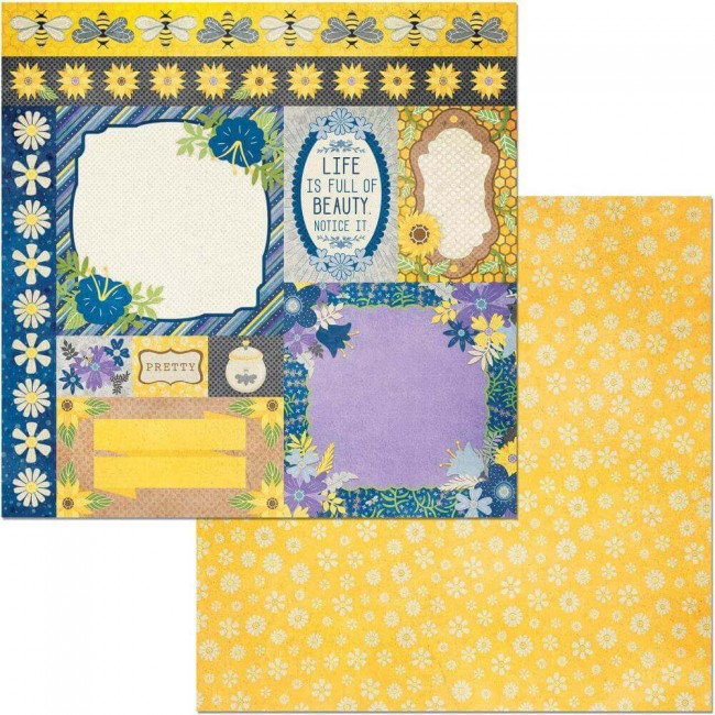 Papel Estampado Doble Cara 12x12 Bee-utiful Pretty