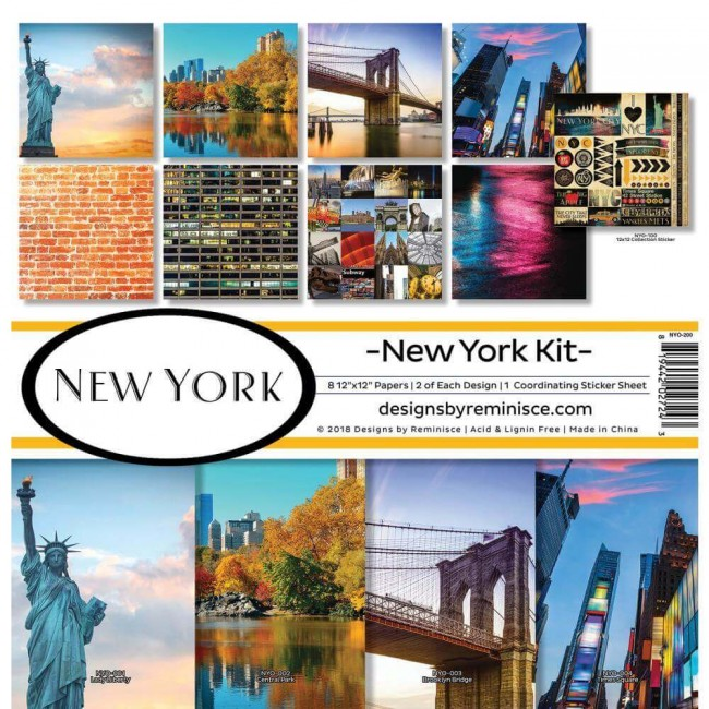Kit Papeles Estampados 12x12 New York