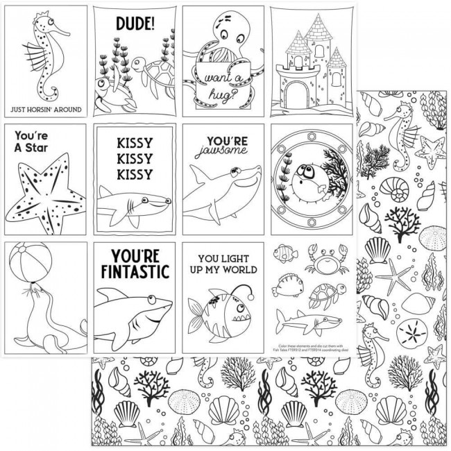 Papel Estampado Doble Cara 12x12 Fish Tales Black & White Color Me Cards