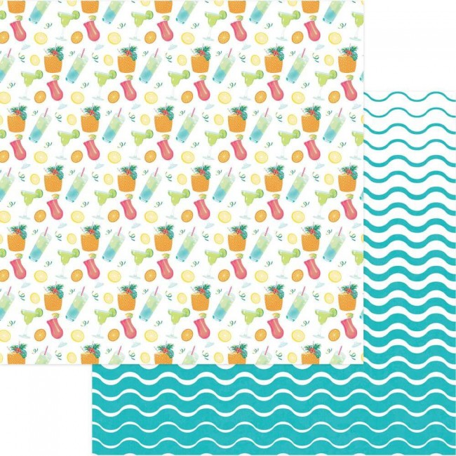 Papel Estampado Doble Cara 12x12 Squeeze In Some Fun Pina Colada