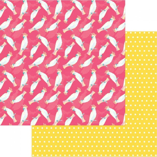 Papel Estampado Doble Cara 12x12 Squeeze In Some Fun Cocatoo