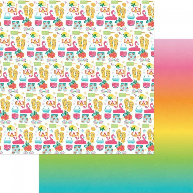 Papel Estampado Doble Cara 12x12 Squeeze In Some Fun Summer Lovin'