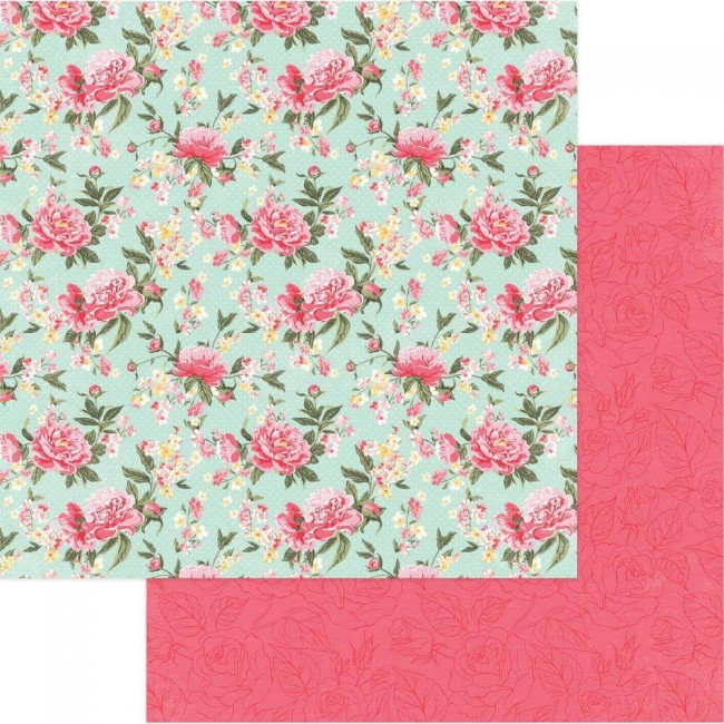 Papel Estampado Doble Cara 12x12 Belle Fleur Pretty Peonies