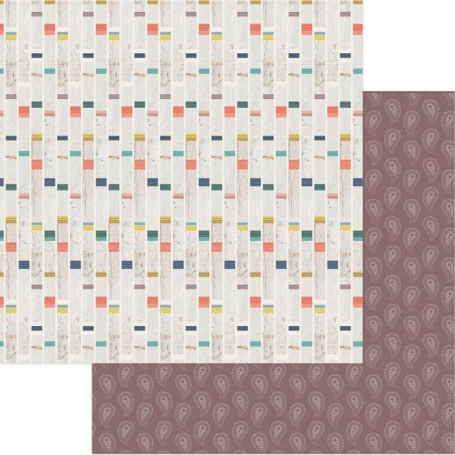 Papel Estampado Doble Cara 12x12 Free Bird Eye Wild Child Stripe