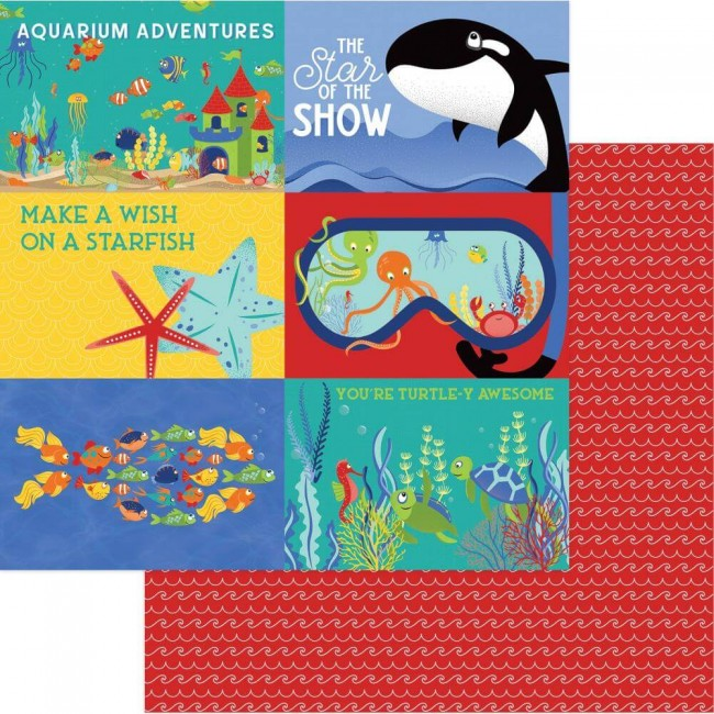 Papel Estampado Doble Cara 12x12 Fish Tales Showtime