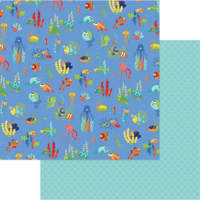 Papel Estampado Doble Cara 12x12 Fish Tales Under The Sea