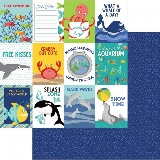 Papel Estampado Doble Cara 12x12 Fish Tales Splash Zone