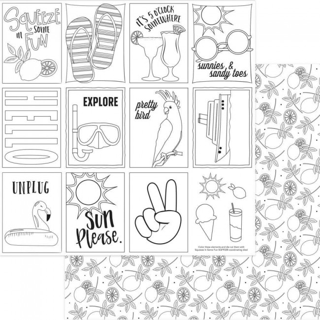 Papel Estampado Doble Cara 12x12 Squeeze In Some Fun Black & White Color Me Cards