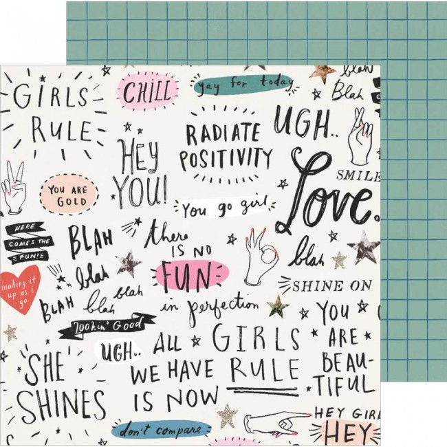 Papel Estampado Doble Cara 12x12 All Heart Go Girl