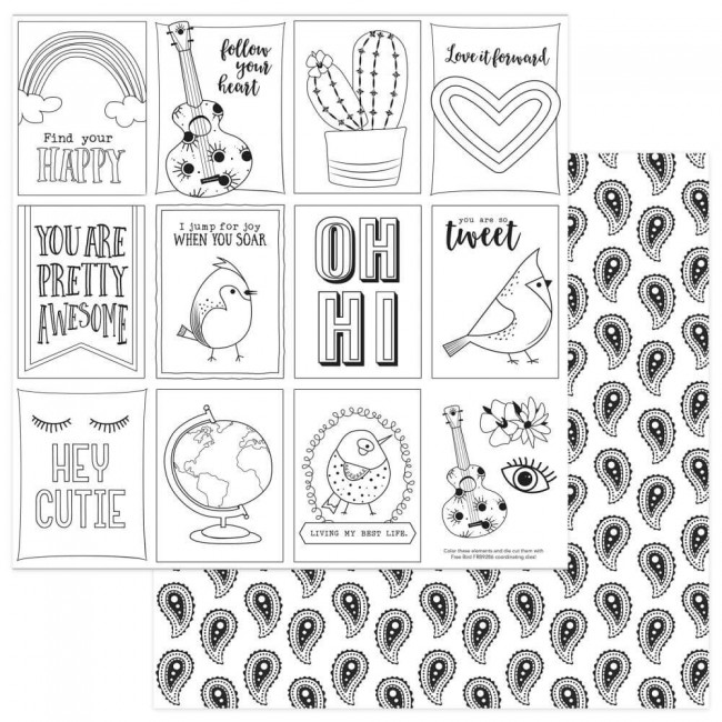 Papel Estampado Doble Cara 12x12 Free Bird Black & White Color Me Cards