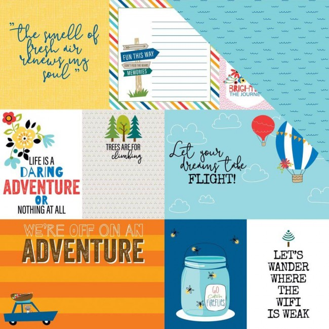 Papel Estampado Doble Cara 12x12 Let's Go On An Adventure Daily Details