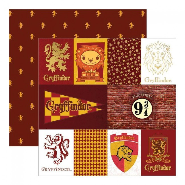 Papel Estampado Doble Cara 12x12 Harry Potter Gryffindor House Tag