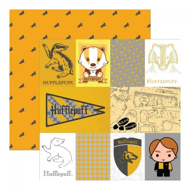 Papel Estampado Doble Cara 12x12 Harry Potter Hufflepuffs
