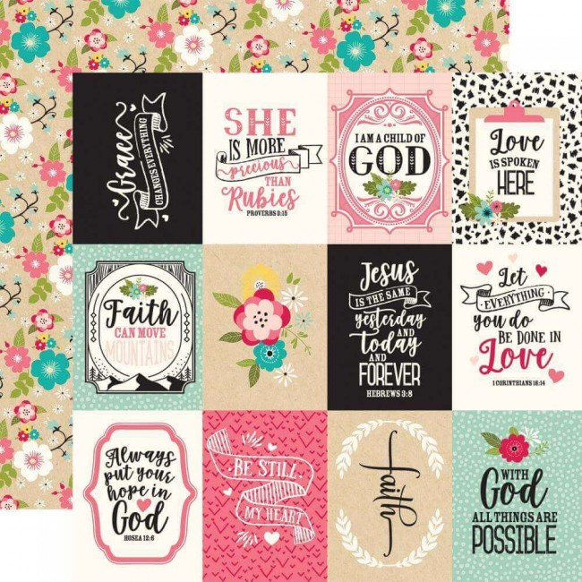 Papel Estampado Doble Cara 12x12 Forward With Faith 3x4 Journaling Cards