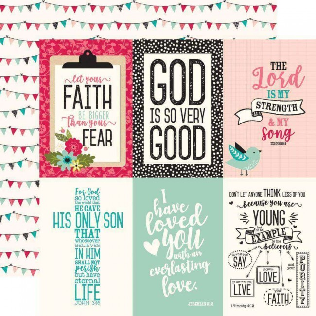Papel Estampado Doble Cara 12x12 Forward With Faith 4x6 Journaling Cards