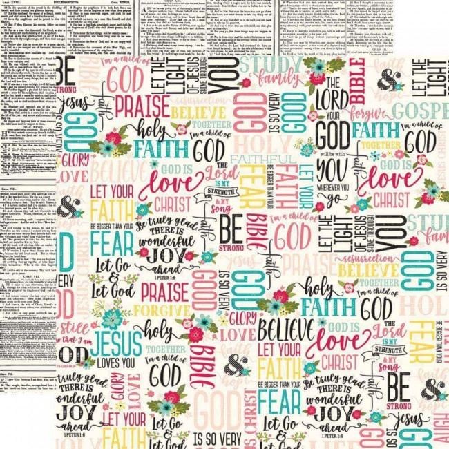 Papel Estampado Doble Cara 12x12 Forward With Faith Faith & Hope