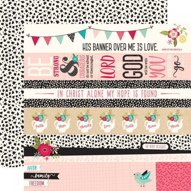 Papel Estampado Doble Cara 12x12 Forward With Faith Border Strips