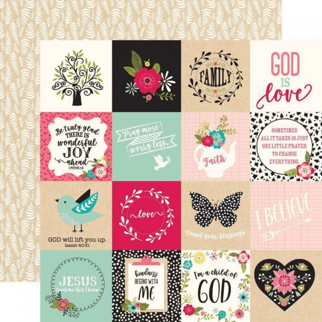 Papel Estampado Doble Cara 12x12 Forward With Faith 3x3 Journaling Cards