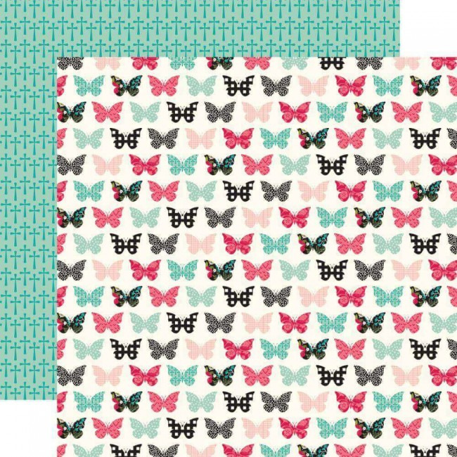 Papel Estampado Doble Cara 12x12 Forward With Faith Blessed Butterflies