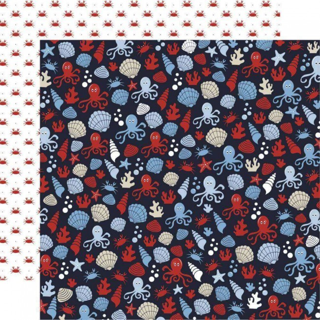 Papel Estampado Doble Cara 12x12 Deep Blue Sea Sea Creatures