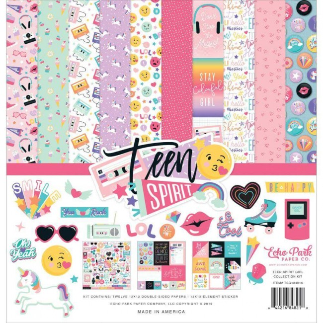 Kit Papeles Estampados 12x12 Teen Spirit Girl